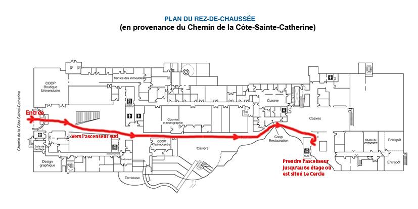 HEC - Parcours vers Le Cercle à partir de l'entrée Cote-Sainte-Catherine